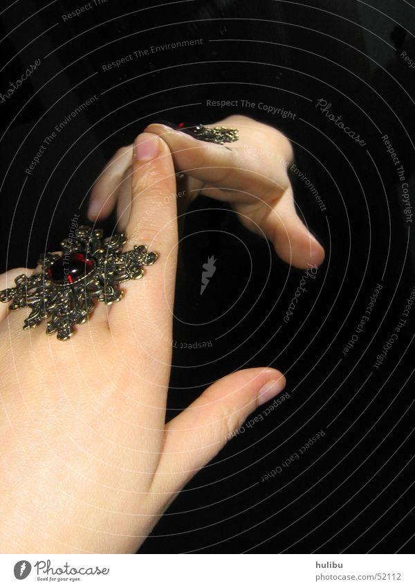 Hand Black Stone Fingers Circle Mirror Jewellery