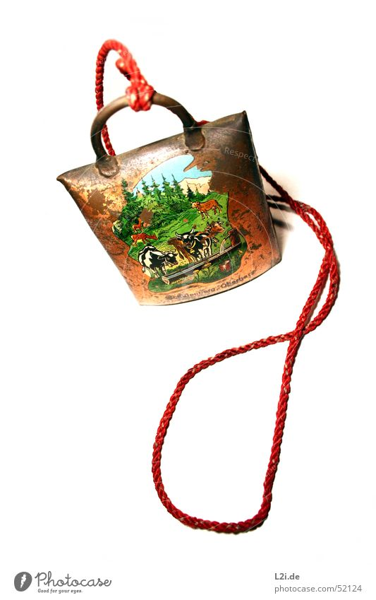 cowbell Cow bell Toys Souvenir Vacation & Travel Forest Meadow Alpine pasture Brown Red Green Copper String Harz Nature Sky Mountain Blue Old