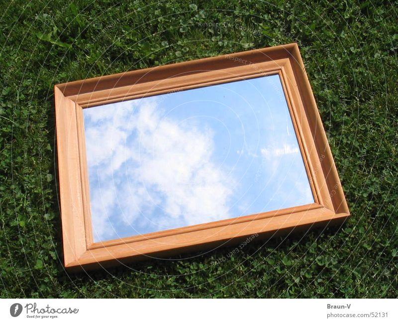 mirror meadow Mirror Clouds Meadow Grass Sky Frame