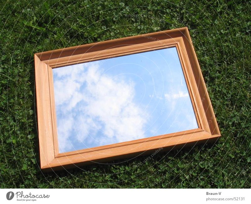 Sky Clouds Meadow Grass Mirror Frame