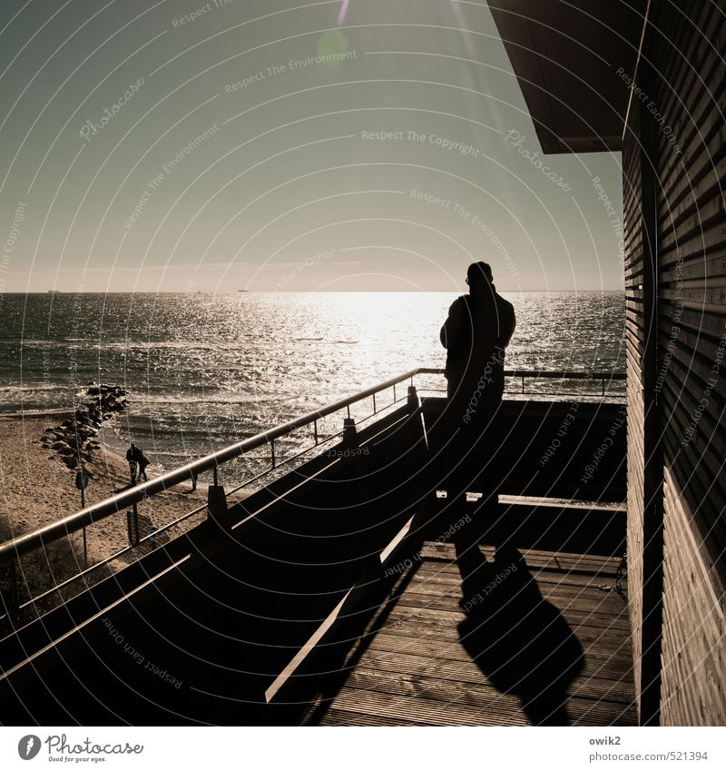 wishful thinking 3 Human being Water Cloudless sky Coast Wood Metal Observe Stand Testing & Control Ocean Man Rear view Lookout tower Handrail balustrade