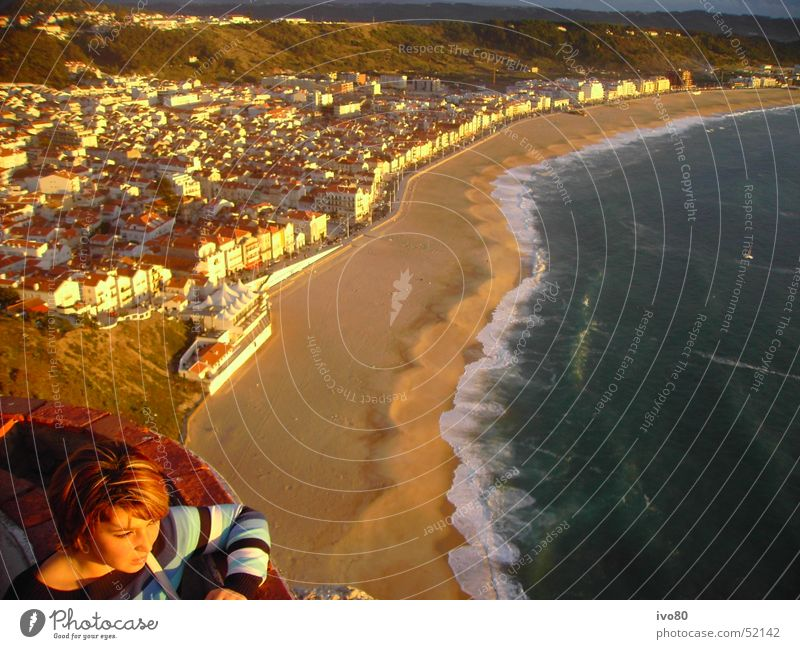 Water Ocean City Beach Vacation & Travel Happy Sand Waves Horizon Longing Surf Portugal Stagnating Evening sun Round trip Nazare