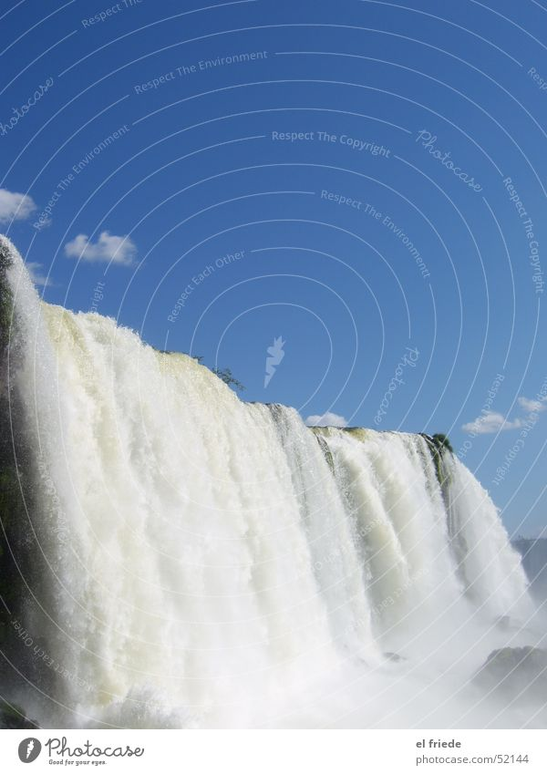 White-Blue Iguazu Falls Torrents of water Brazil Argentina Vacation & Travel Swimming & Bathing Wet Rainbow Peace Loud Ear-piercing Waterfall Sky Freedom Nature