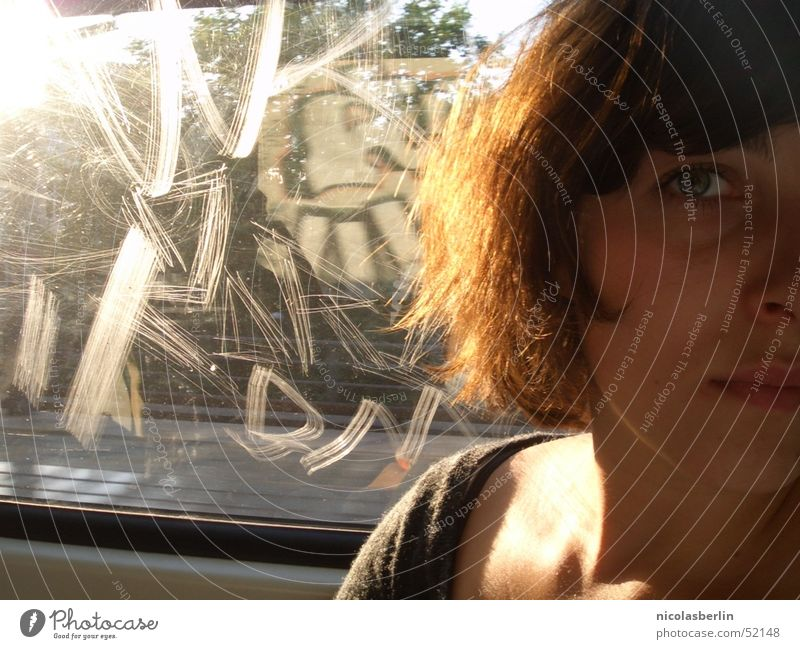 Face Window Lanes & trails Sadness Bright Driving Grief Longing Vantage point Half Commuter trains Scratch