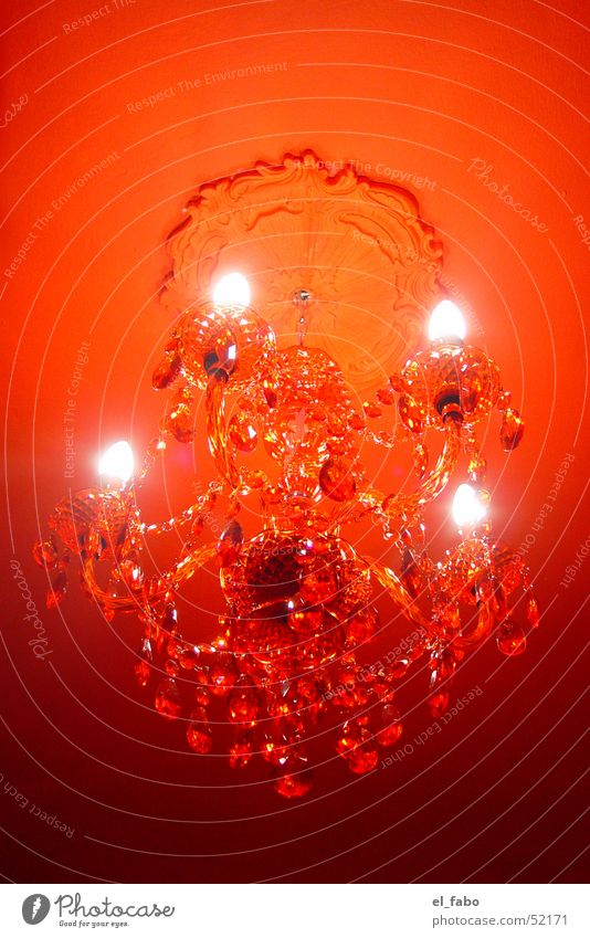 Red Colour Candle Blanket Electric bulb Chandelier Stucco Acrylic
