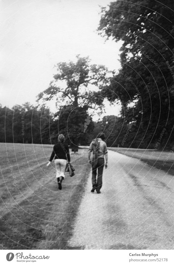 Goodbye To go for a walk Park Man Woman Forest Meadow Tree Love Friendship Trust Autumn Black & white photo Men Lanes & trails trees Couple friends In pairs