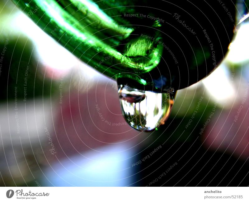 a drop from a bottle Green Liquid Background picture Hang Slope Macro (Extreme close-up) Close-up Bottle vessel Drops of water droplet Fluid reflection Glass