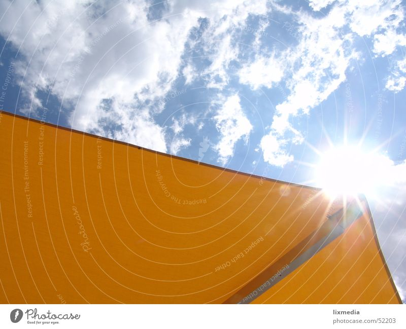 View upwards Clouds Sunshade Yellow Back-light Summer Light Sunbeam Vacation & Travel Sky Blue Lighting