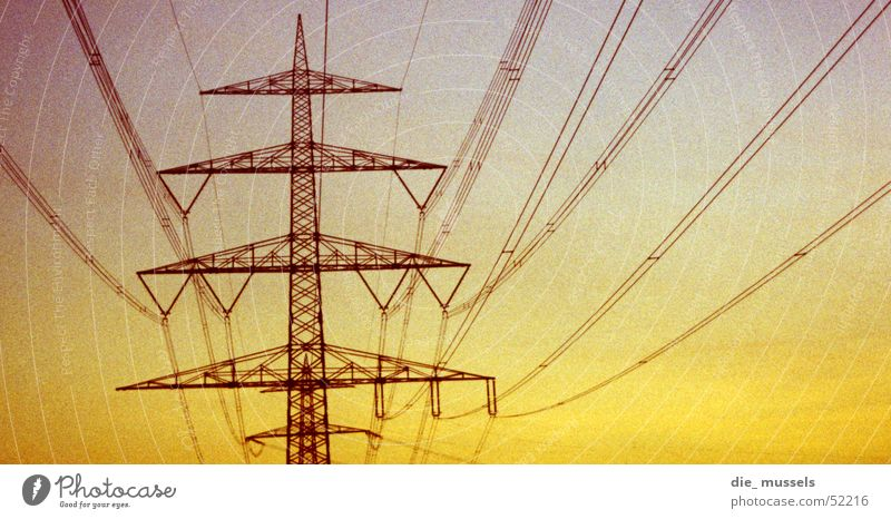 under the direction of ... Electricity Electricity pylon Sunset Transmission lines Cable