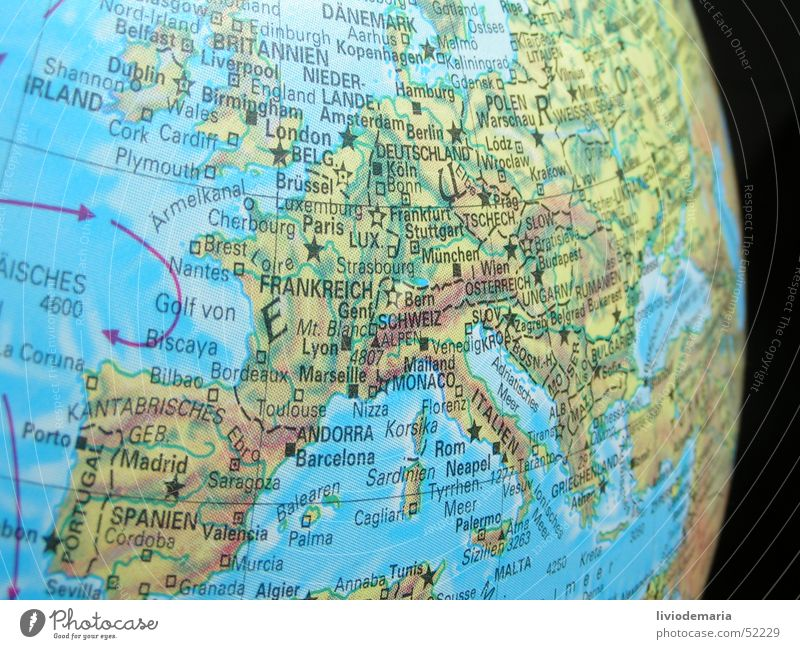 Ocean Earth Germany Europe Italy Switzerland Sphere Globe France Spain Scandinavia Map Mediterranean sea Section of image Austria Partially visible