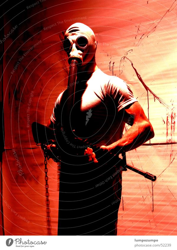 Red Colour Dirty Drops of water Force Blood Musculature Inject Varnish Soldier Handgun Murder Extraterrestrial being Terror Assassin Respirator mask