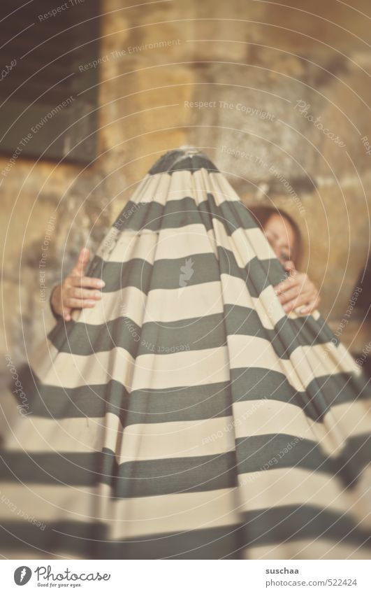 magic hood II Feminine Woman Adults Head Hair and hairstyles Eyes Hand 1 Human being 30 - 45 years To hold on Hide Sunshade Striped Cloth Hiding place Looking