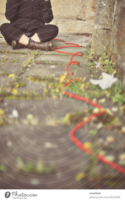 the red thread ... Feminine Woman Adults Legs Feet 1 Human being 30 - 45 years Autumn Sit Red Sewing thread Steel cable Wire Sit Cross Legged Colour photo