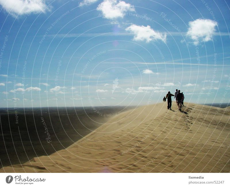 Human being Sky Ocean Blue Clouds Sand Wind Desert Beach dune Blow Denmark Sanddrift Lønstrup