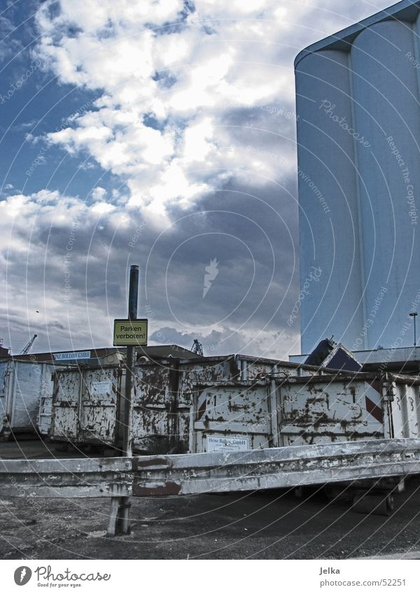 Sky Clouds Building Harbour Industrial Photography Trash Steel Parking Iron Container Bans Attic Scrap metal Silo Crash barrier Harburg
