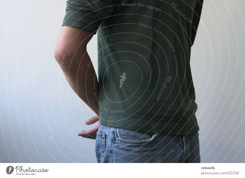posture Design Services Career Success Masculine Man Adults Chest Arm 1 Human being Clothing T-shirt Jeans Communicate Stand Wait Green Self-confident Power