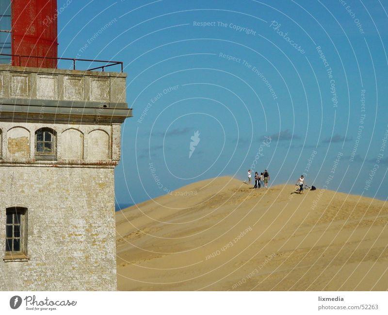 Human being Sky Sand Wind Desert Beach dune Lighthouse Denmark Sanddrift Sandstorm Wanderdüne Rubjerg Knude