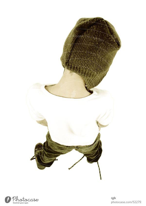 child Child Cap Headwear Brown White T-shirt Bird's-eye view Boy (child) Back Above