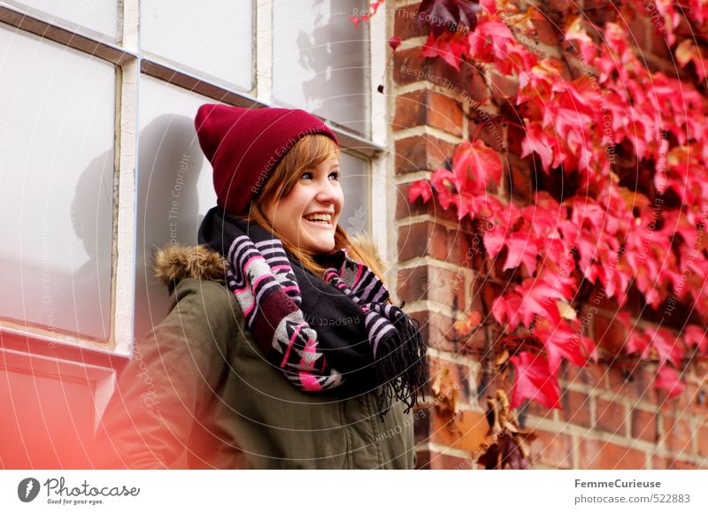 Human being Woman Child Nature Youth (Young adults) Colour Plant Red Young woman Joy 18 - 30 years Adults Environment Feminine Autumn Facade