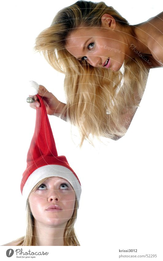 """<font color=""""#ffff00"""">-=santa´s=- proudly presents Santa Claus hat Woman Tuft Curl Bell Christmas & Advent Red Winter Blonde Hover Beautiful White Purple"""