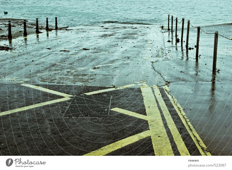 Wet Coast Lakeside River bank Street Cold Ramp Deluge Jetty Signs and labeling Water Colour photo Subdued colour Exterior shot Deserted Copy Space middle