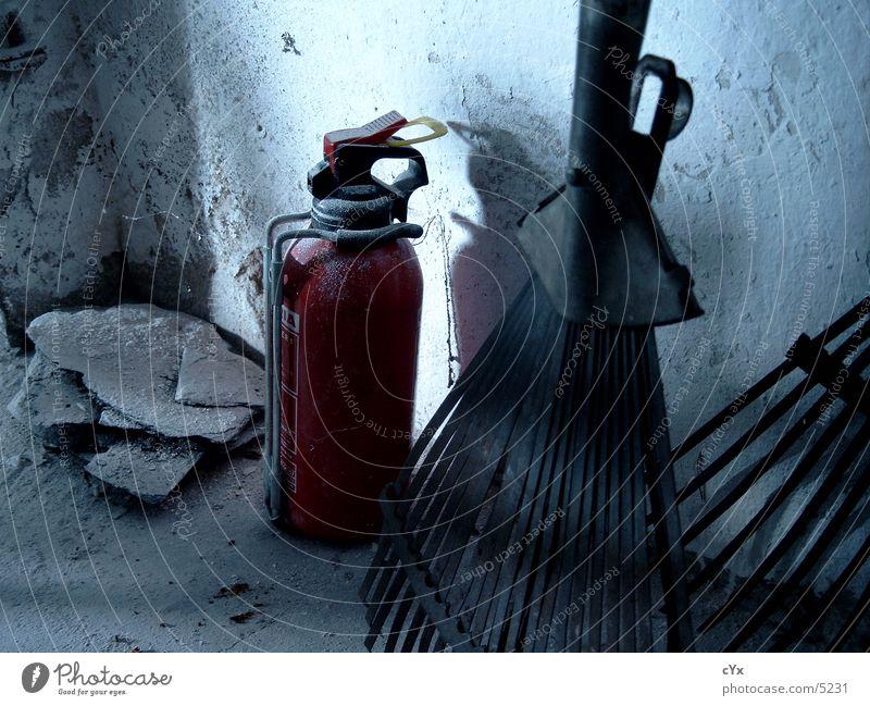 The last corner Extinguisher Red Plaster Rake Grunge Industry Corner Dirty Shadow Garden