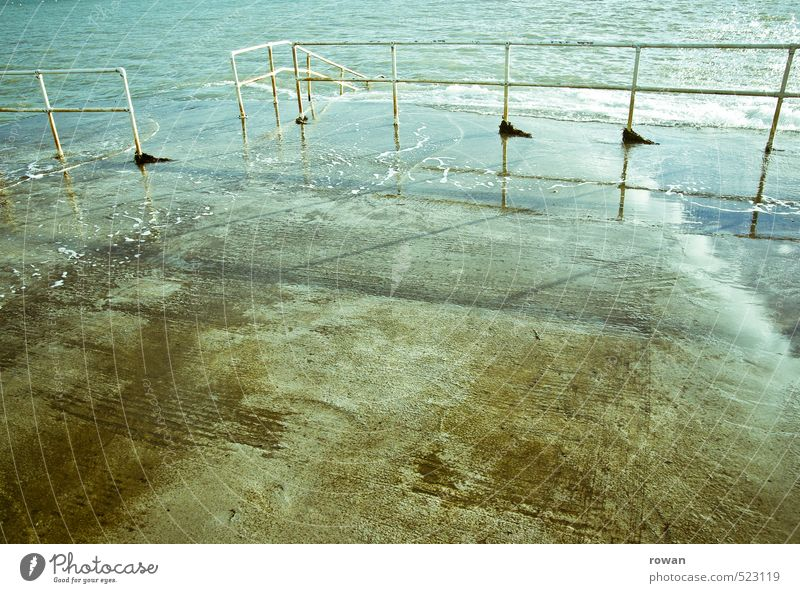 Wet Ocean Handrail Concrete Deluge Water Swimming pool Pool ladder Colour photo Exterior shot Deserted Copy Space left Copy Space right Copy Space middle Day