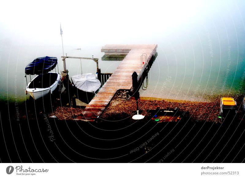 Water Calm Colour Lake Watercraft Fog Footbridge September