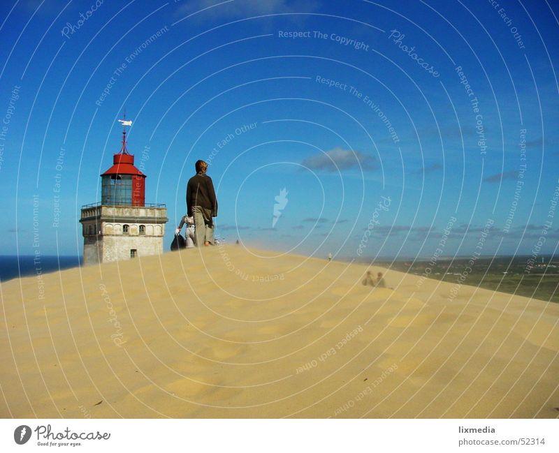 Human being Sky Sand Wind Desert Beach dune Dune Lighthouse Denmark Sanddrift Sandstorm Lønstrup Wanderdüne Rubjerg Knude