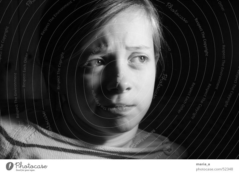 Girl 4# Child Black Dark Emotions Light Portrait photograph Bright Contrast Face Black & white photo B/W Facial expression Ask