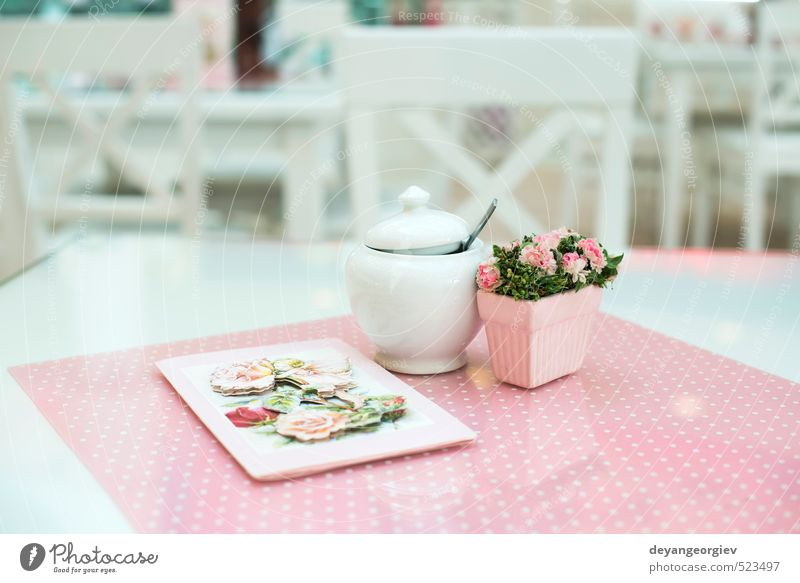 Table in confectionery White Colour Flower Architecture Lamp Feasts & Celebrations Pink Open Elegant Design Modern Decoration Culture Chair Kitchen