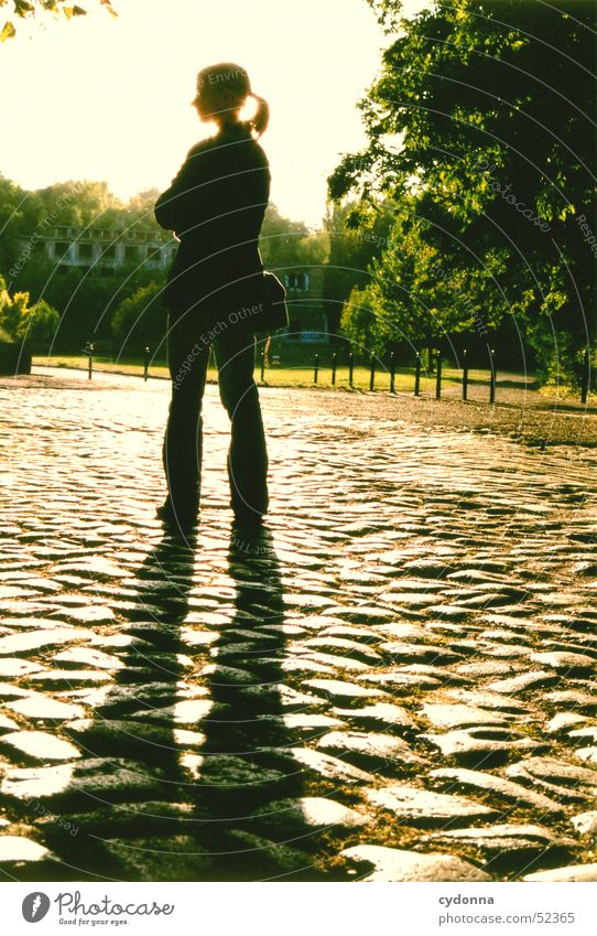 still Light Summer Green Park Radiation Saale Black Silhouette In transit Action Human being Emotions Shadow Warehouse Sun Nature Paving stone Stand