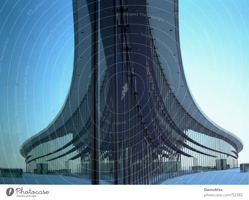 Sky Blue Winter Cold Snow Glass Facade Perspective Modern Round Dresden Mirror Middle Under Steel
