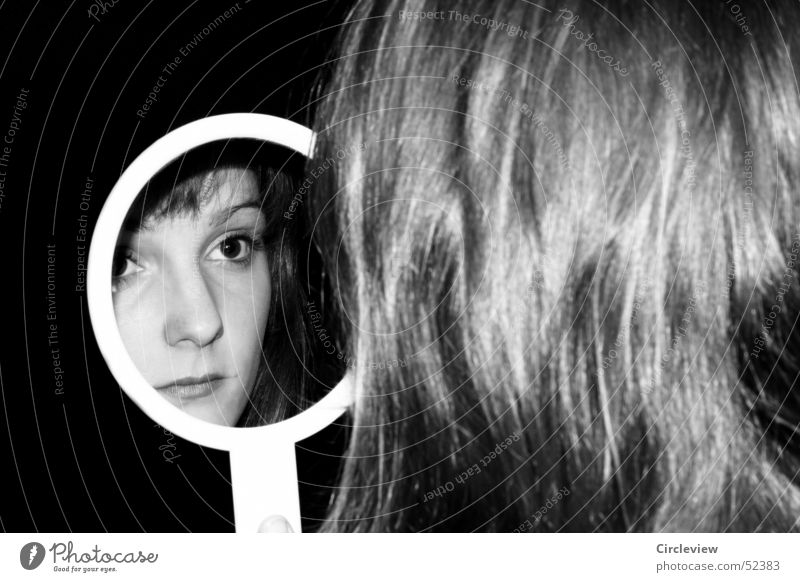 In the mirror #1 Woman Mirror Reflection Black White Human being Portrait photograph Hair and hairstyles Face Head Black & white photo Shadow human shade
