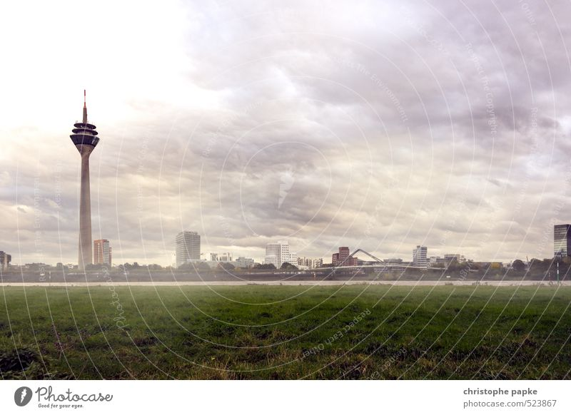 Düsseldorf - Media harbour Architecture Clouds Storm clouds Weather Gale Duesseldorf Germany Town Downtown Outskirts Skyline Deserted Tower Tourist Attraction