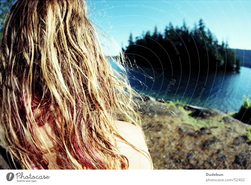 Ruby Lake Colour photo Exterior shot Copy Space right Day Sunlight Shallow depth of field Wide angle Looking away Summer Island Young woman Youth (Young adults)