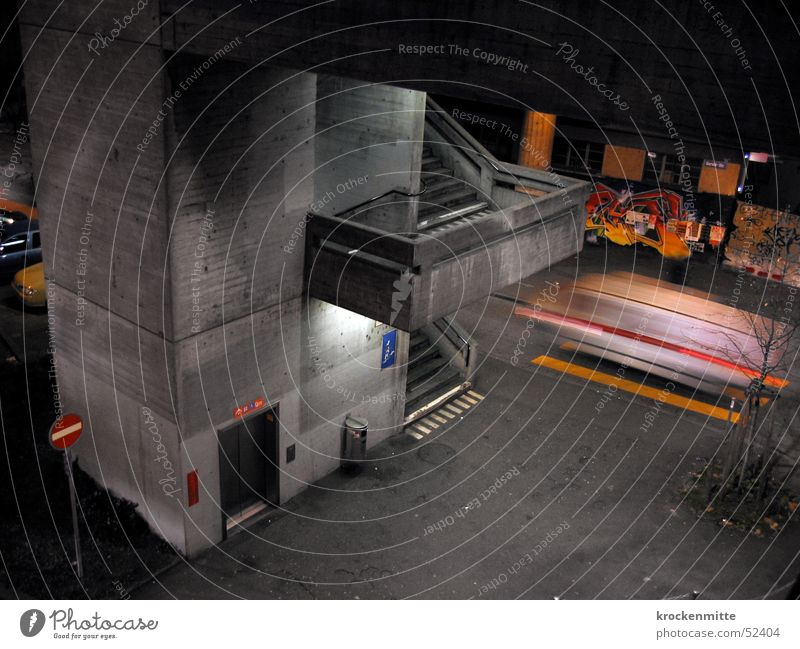City Street Graffiti Gray Stairs Concrete Speed Driving Elevator Zurich Ambulance One-way street