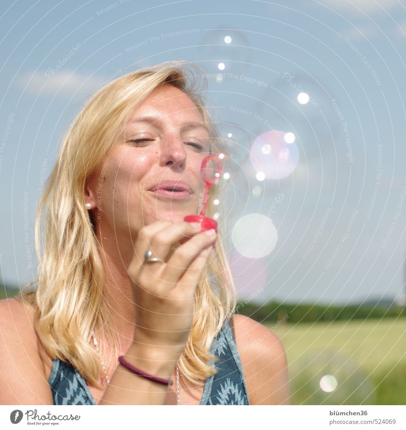 Playing is so beautiful!!! Human being Feminine Young woman Youth (Young adults) Woman Adults Face Hand 1 18 - 30 years Toys Soap bubble Observe Flying Dream