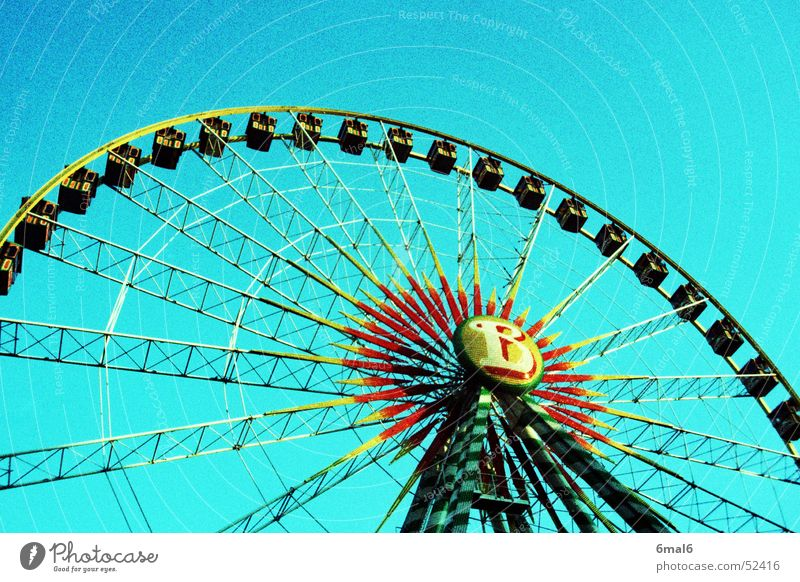 spinning wheel Ferris wheel Fairs & Carnivals Circus Speed Feasts & Celebrations Blue Level Fear Colour