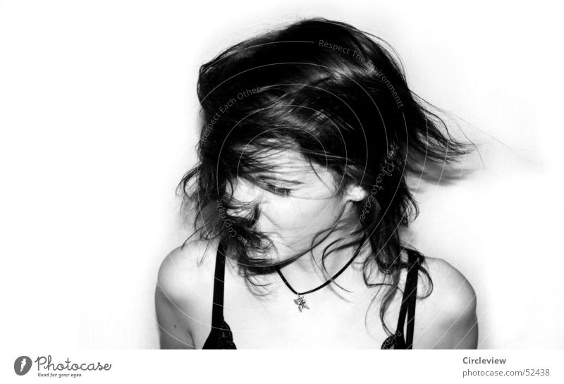Headwind #1 Woman Black White Human being Shake Action Portrait photograph Emotions Power Speed Hair and hairstyles Face Black & white photo Shadow human shade