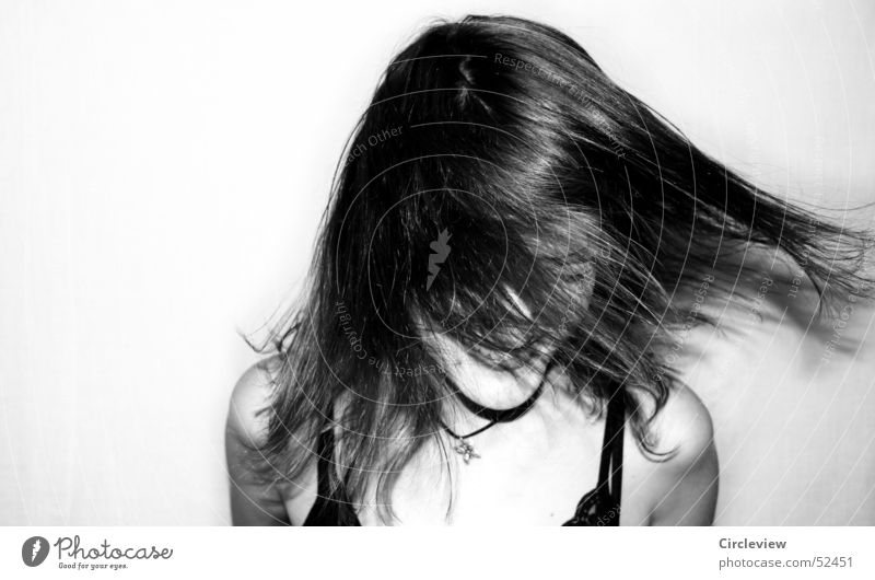 Headwind #2 Woman Black White Human being Shake Action Portrait photograph Hair and hairstyles Face Black & white photo Shadow human shade Wind Movement Joy