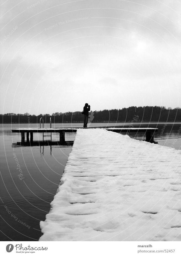 Man Water Winter Cold Snow Wood Gray Lake Footbridge