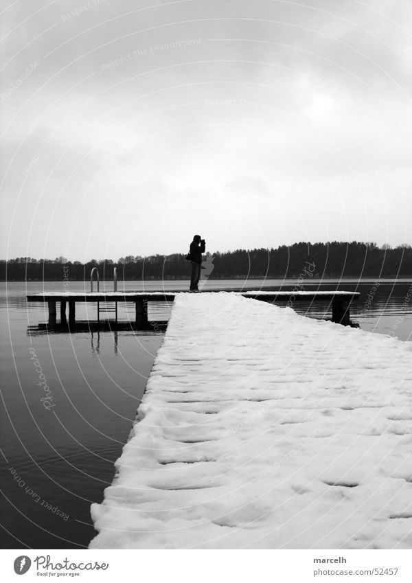Man Water Winter Cold Snow Wood Gray Lake Footbridge