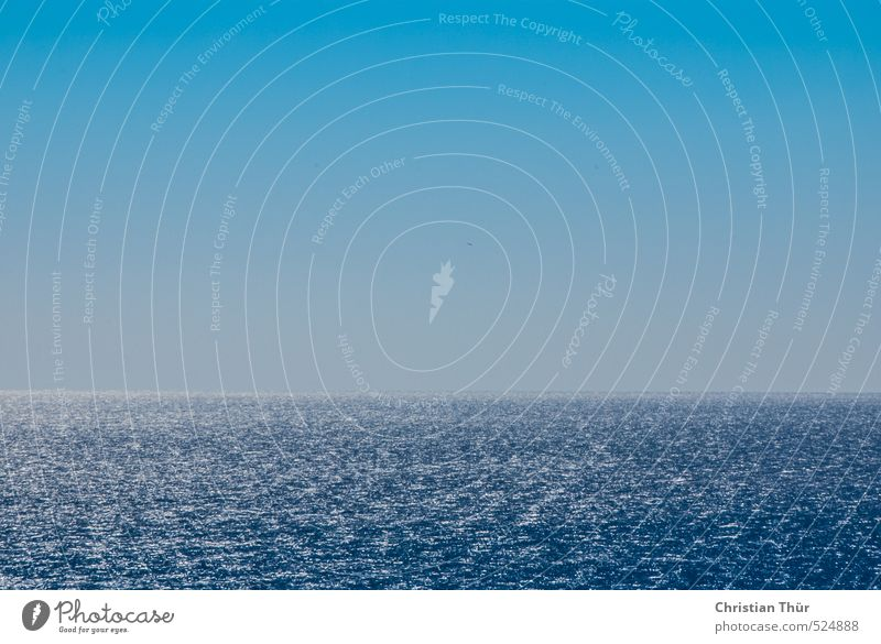 Blue White Water Summer Ocean Bright Horizon Waves Esthetic Elements Infinity Cloudless sky Turquoise Aegean Sea Sky only