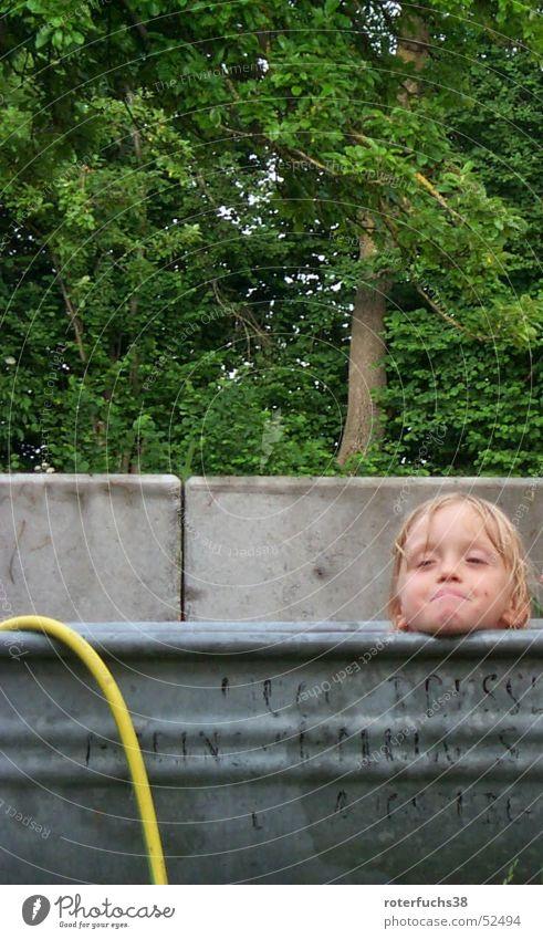 summer bath Wash tub Gray Furrow Deserter Child Tree Concrete Hose Bathtub Grinning Meadow Forest Bathroom Garden hose Yellow Exterior shot Snapshot children