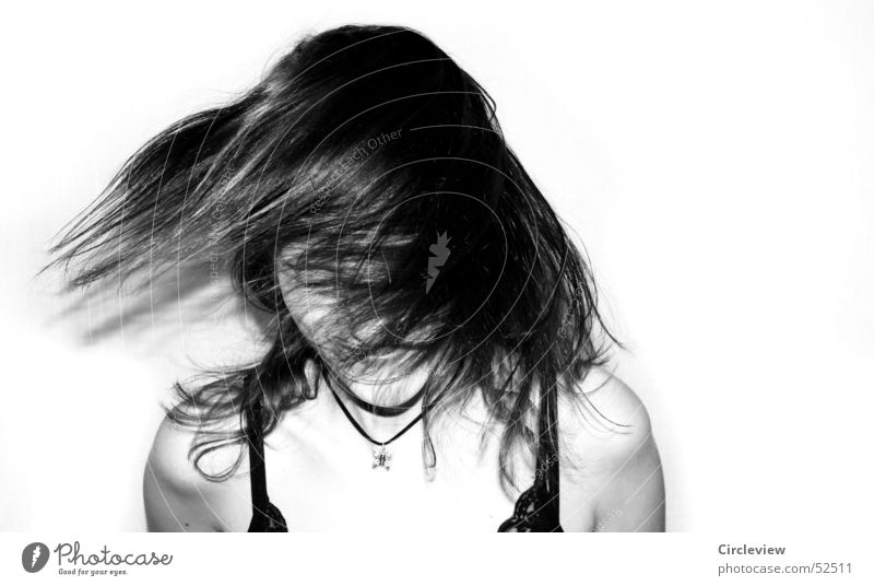 Headwind #3 Woman Black White Human being Shake Action Portrait photograph Hair and hairstyles Face Black & white photo Shadow human shade Wind Movement Joy
