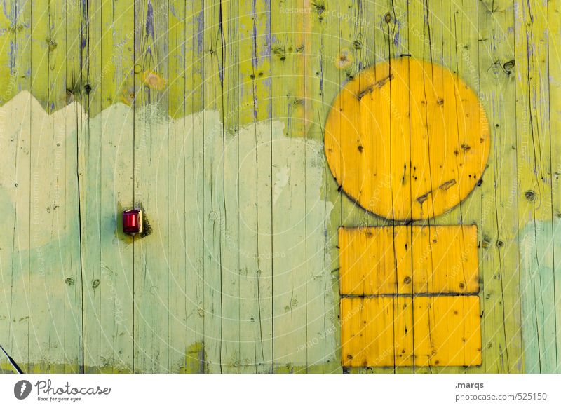 Boarded Lifestyle Style Wall (barrier) Wall (building) Wood Line Beautiful Yellow Green Colour Wooden wall Symbols and metaphors Circle Colour photo