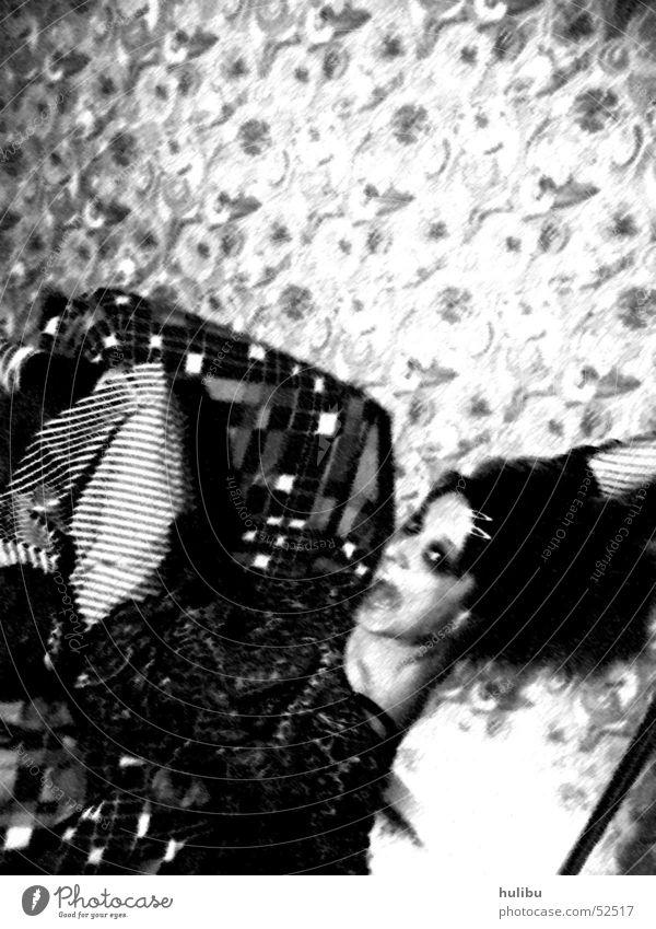 Crashed Black White Armchair Woman Wallpaper Retro Scream Light To fall plunge Sit Shadow
