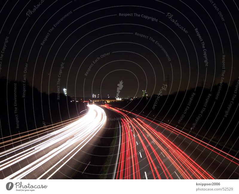 White Red Street Transport Stripe Highway Mobility The Ruhr Night shot