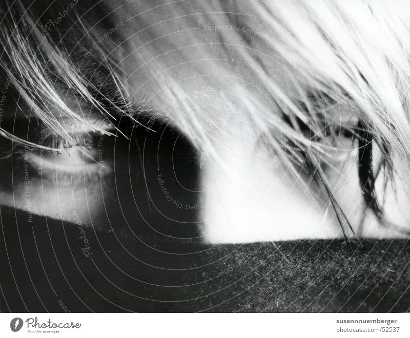 self-portrait Portrait photograph Woman Scarf Blonde Hide Eyes Black & white photo Hair and hairstyles Shadow Detail